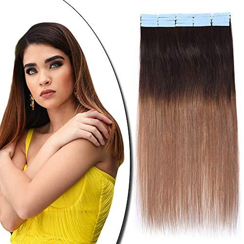 Extension Adhesive Cheveux Naturel 20 Pcs - Rajout Vrai Cheveux Humain Bande Adhesive Lisse (#Dégradé 2T6 Brun à Châtain Clair, 45 cm)