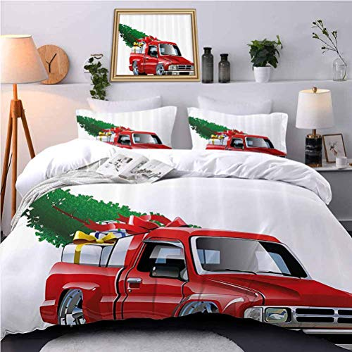 UNOSEKS LANZON Quilt Cover Red Pickup Truck withGift Boxes and Pine Tree Xmas Motor Theme All-Purpose Bedding Sets Never Fades After Multiple Washes - Full Size