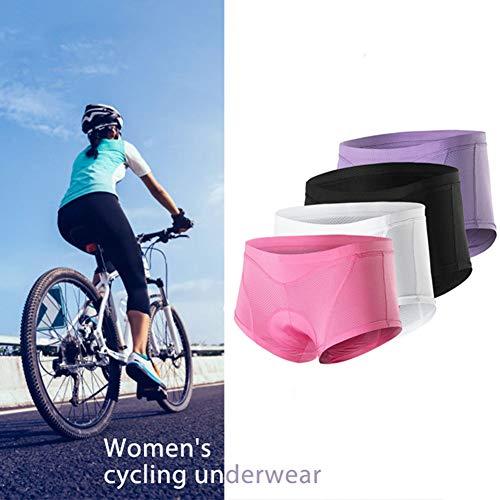 STKASE® Radunterhose Damen Fahrradhose Gepolstert Gel Damen Radfahrer Unterhose Fahrradunterwäsche Atmungsaktiv 3D Fahrradunterhose für Radfahren Reiten Tour,Rosa,S