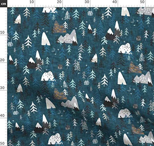Nacht, Zelten, Draußen, Alpin, Junge Stoffe - Individuell Bedruckt von Spoonflower - Design von Nouveau Bohemian Gedruckt auf Bio Musselin
