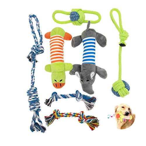 Hestarpet Dog Chew Toys for Puppies, Squeaky Toys for Dogs, 7Pcs Puppy Chew Toys for Playtime and Teeth Cleaning, Durable Cotton Rope Chew Toys, Puppy Teething Toys for Medium to Small Dogs