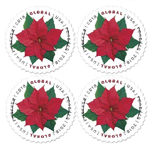 2018 Global Poinsettia Forever Stamps Always Good for 1 Oz International First Class Mail - Block of 4 Stamps