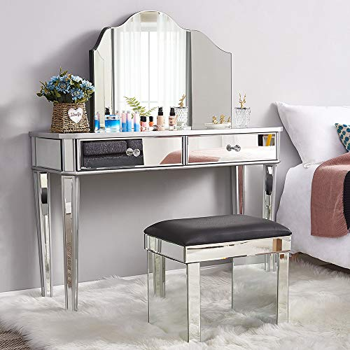 Mirrored Dressing Table Set Furniture Glass With 2 Drawers Vanity Console Dresser Bedroom With Table Top Top Trifold Mirror and Stool (Whole Dressing Table Set)
