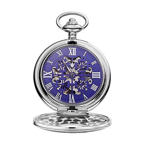 LKNJLL Suavizar clásico de la Vendimia del Reloj de Bolsillo de Plata Hombre de Acero Reloj con Cadena de Padres Graduación Navidad Día
