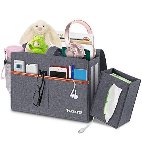 Betoores Betttasche, Filz Bett Organizer Anti-Rutsch Nachttisch Tasche mit Tissue Box und Wasserflaschenhalter Hängeaufbewahrung für Buch, Zeitschriften, iPad, Handy, Fernbedienung -Grauschwarz
