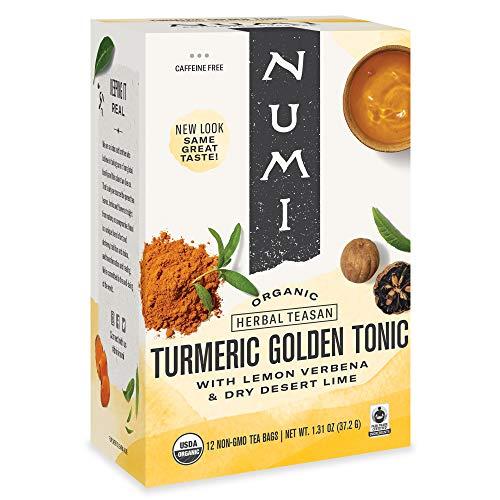 Numi Organic Tea Golden Tonic, 12 Count Box of Tea Bags (Pack of 3) Turmeric Tea (Packaging May Vary)