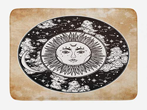 ABAKUHAUS Tribal Tapete para Baño, Sun Cara de Luna, Decorativo de Felpa Estampada con Dorso Antideslizante, 45 cm x 75 cm, Negro Blanco Crema