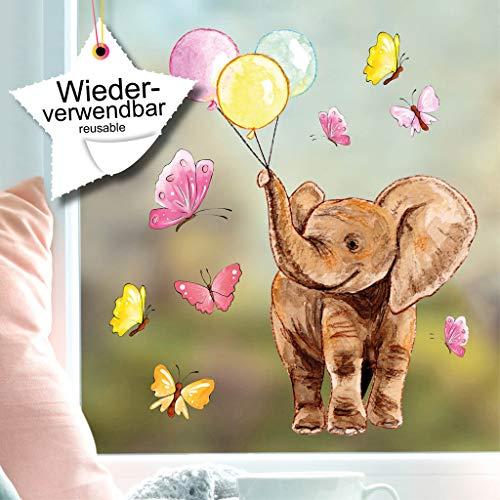 Wandtattoo Loft Fensterbild Niedlicher Elefant mit Luftballons und Schmetterlingen Fensteraufkleber wiederverwendbar / A4
