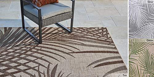 Gertmenian Outdoor Rug Tropical Collection Simple Exterior Patio Carpet 6x9 Medium Sequoia Leafs Tan