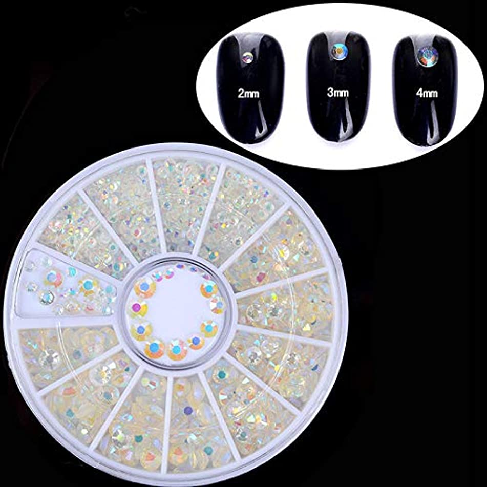 3D Nail Art Rhinestones Glitters Beads Acrylic Tips Decoration Manicure Wheels (Pattern - 2-4mm Colorful Resin Studs)