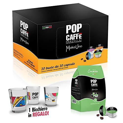100 CAPSULE POP CAFFE\' compatibile UNO SYSTEM INDESIT Miscela . 2 CREMOSA