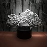 3D LED USB Lámpara óptico Illusions Luz Nocturna Motocicleta con Buena calidad Panel Acrílico Base ABS