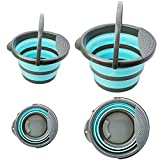 Collapsible Bucket w/Removable Filter, 【2 Pack】Foldable Plastic Bucket for House Cleaning, Durable BPA Free Gardening Bucket for Hiking, Camping, 10L (2.6 Gallons) and 5L (1.3 Gallons) - Blue