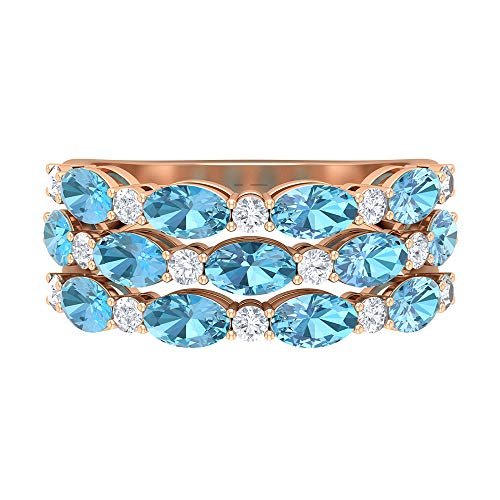Rosec Jewels 18 quilates oro rosa ovalada round-brilliant-shape H-I Diamond Aquamarine