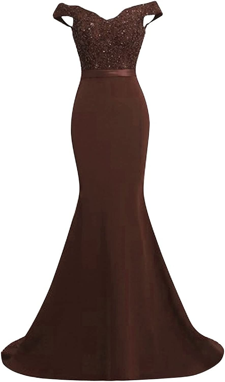 JudyBridal Women's Off Shoulder Mermaid Prom Formal Dress Evening Gown