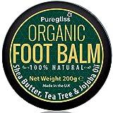 Bio-Fußbalsam von Puregliss 200g-für trockene Füße,rissige Fersen,harte Haut,wunde Füße, Pilzbefall,trockene Haut-100% natürliche Behandlung Fußcreme mit Teebaumöl-Shea Butter-Jojobaöl