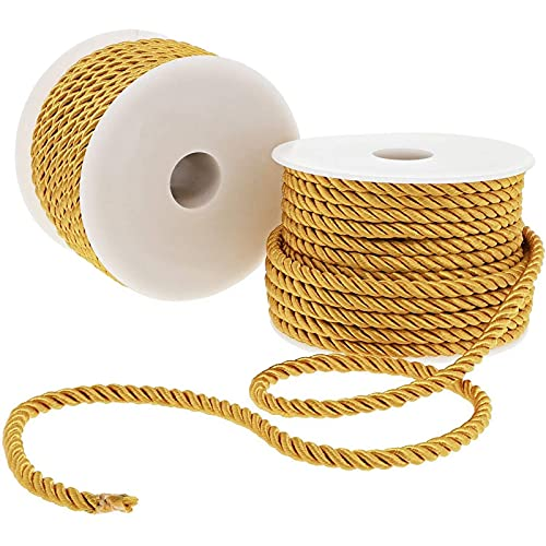 Twisted Gold Cord for Crafts, Sewing, Upholstery (36 Yards, 2 Rolls)