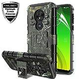 Motorola Moto G7 Play Case 2019 wScreen Protector,Motorola Moto G7 Optimo Phone Case 5.7 inch,Kickstand Shockproof Heavy Duty Non Slip Bumper Rugged Protective Cover for Moto G(7th Gen) Play-Camo