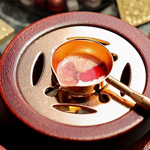 Wax Seal Warmer Kit di fusione, Legno sigillo di cera con forno di fusione Spoon & Candle Kit di fusione strumento di legno Wax Seal Fornace Vintage Wax Seal Stamp Tool Set per ceralacca timbro Fare