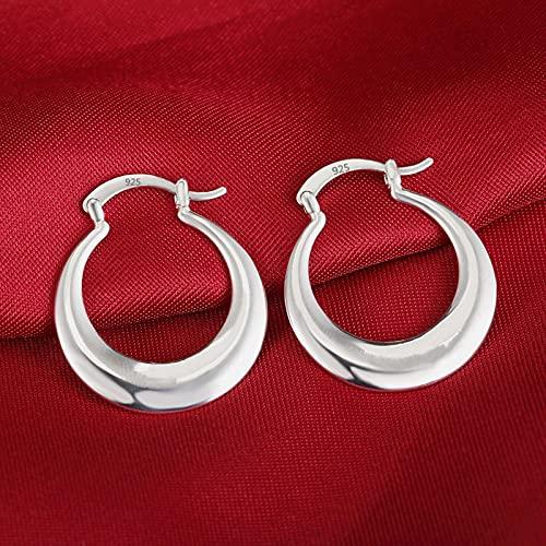TIANGUO Pendientes de Plata de Ley 925 de 3 cm, aro Grande Redondo de Moda para Mujer, Hermosos Pendientes de Media Luna de Creatividad, Regalos, joyería de Compromiso