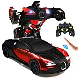 Ursulan RC Cars Robot for Kids Remote Control Car Toys for Boys Girls Age of 6,7,8-16 Year Old Gifts One Button into Robot with LED Light Intelligent Vehicle (RED)
