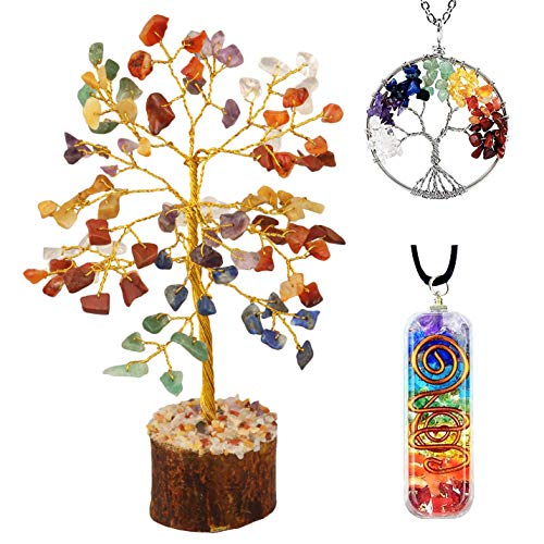 YATSKIA Seven Chakra Healing Crystal Tree of Life Necklace Orgone Pendant Feng Shui Wire Bonsai Good Luck Fortune Office Decorations Bedroom Decorations Reiki Positive Energy Generator Gemstone
