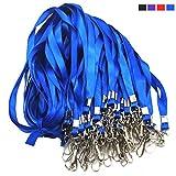 Blue Lanyard Bulk Lanyards for Id Badges Flat Lanyard with Badge Clip Swivel Hook Beebel 50 Pack