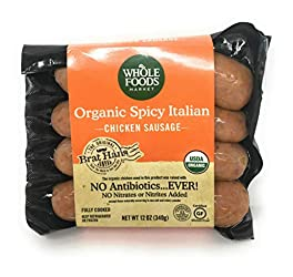 Whole Foods Market, Organic Chicken Sausage, Spicy Italian (GAP - Step 3), 12 Ounce