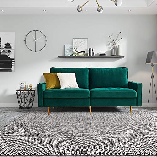 brands Modern Velvet Fabric Sofa Polstermöbel für kleine Wohnungen Gästezimmer Jugendzimmer Aufbau Polstersofa Wohnzimmer (Grün)