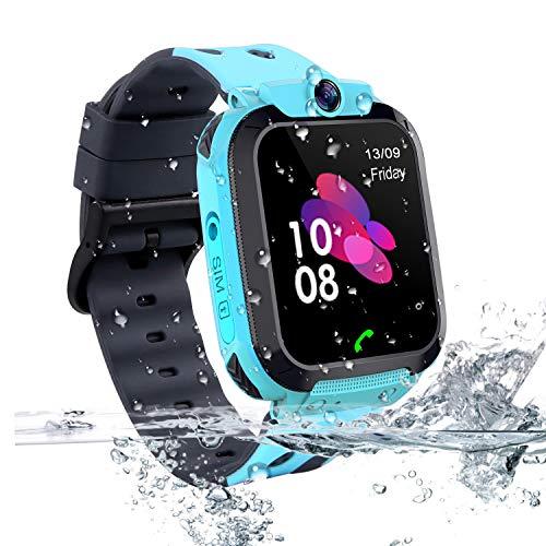 Vannico Bambini Smartwatch. Bambini LBS Localizzatore Smartwatch Android Localizzatore LBS Impermeabile SOS Touch Screen SOS Anti-Lost con fotocamera, gioco per regalo per bambini (S12B-Blue)