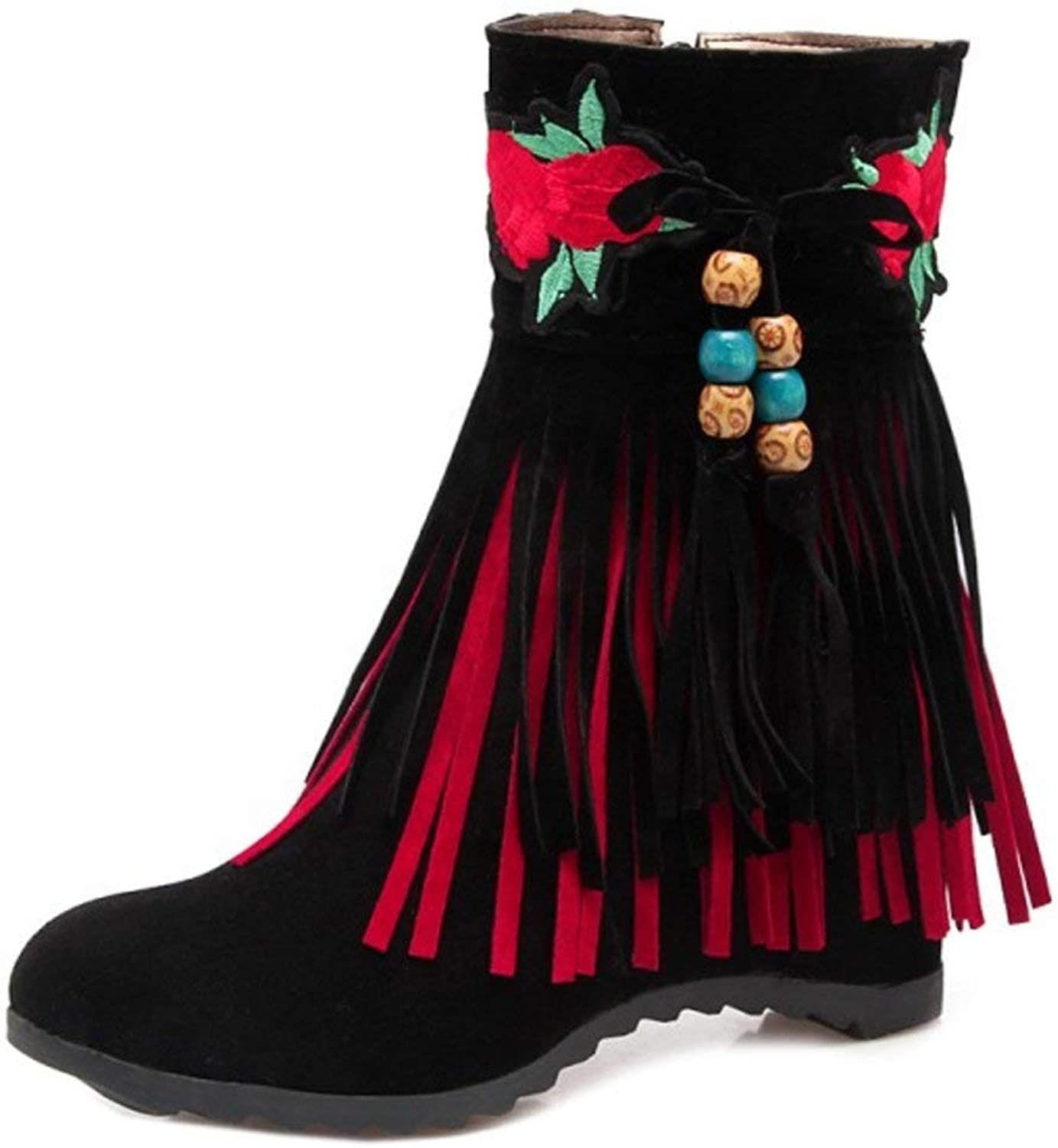 Unm Women Classic Wedges Heel Ankle Boots Retro Fringe Boots with Zipper