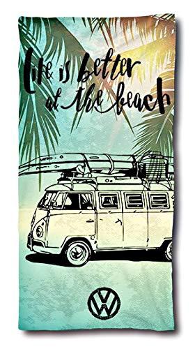VW Bulli Handtuch 75x150 cm | VW Bulli Geschenke | VW Bus Beach Badetuch Baumwolle | Camping Strandtuch Volkswagen T1 T2 T3