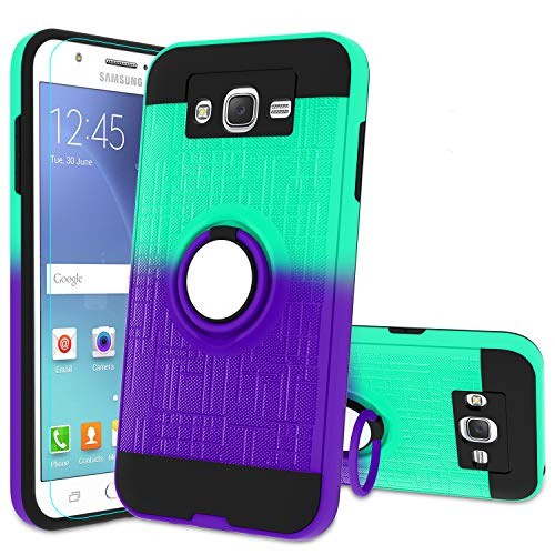 Atump Galaxy J7 2015 Case, Galaxy J7 Neo J700 Phone Case with HD Screen Protector, 360 Degree Rotating Ring Holder Kickstand Bracket Cover Phone Case for Samsung Galaxy J7 J700 2015 Mint/Purple