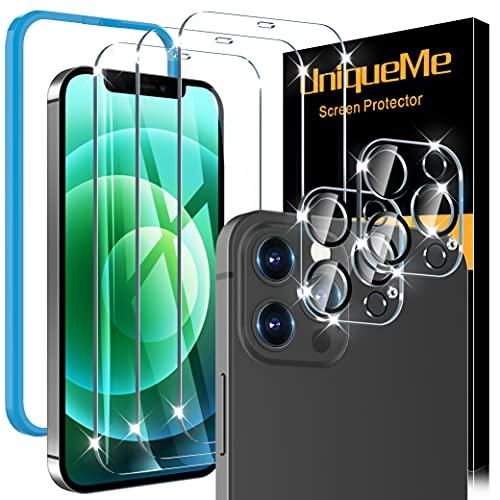 [5 Pack] UniqueMe 3 Pack Protector de Pantalla Compatible con iPhone 12 Pro Max (6.7 pulgadas) y 2 Pack Protector de lente de cámara Cristal Templado, [9H Dureza][Sin Burbujas] HD Vidrio Templado