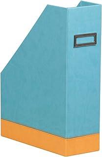 RHODIA 318837C - Porte-Revues Turquoise - 10x25x31 cm - Piqûres Sellier Orange - Extérieur Simili Cuir - Collection Home O...