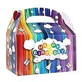 20pcs Cajas Kraft Colores para Regalo de Cumpleaños 16x9,5x17cm Bolsas Regalo Infantil Happy Birthday para Dulces Galletas Bombones Fiesta de Cumpleaños