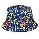 BOIPEEI Regalos del día del Padre Sombreros de Cubo Sombrero de Pescador de Seta de Dibujos Animados Personalizados Sombrero de tazón Sombrero de Cubo al Aire Libre Sombrero Azul