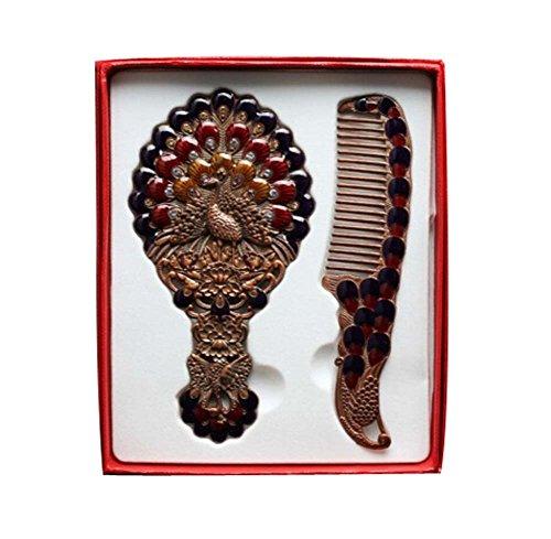 Exquise Retro Miroir cosmétique Portable et Peigne, Rouge Paon
