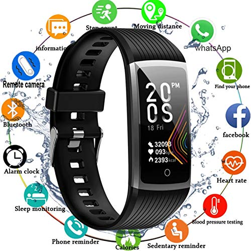 CXSD Reloj inteligente con pantalla táctil para pulsera de fitness y medición de fitness, reloj inteligente para hombres (color: negro)