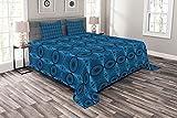 ABAKUHAUS Geometrisch Tagesdecke Set, Konzentrische Kreise Kunst, Set mit Kissenbezügen Moderne Designs, 264 x 220 cm, Azurblau & Dunkelblau Grau