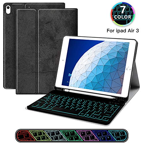 JUQITECH iPad Air 10.5 Backlit-Keyboard Case 2019 Smart Case with Bluetooth Keyboard for iPad Air 3 3rd Gen iPad Pro 10.5 Detachable Wireless Rechargeable Keyboard Cover with Pencil Holder, Black