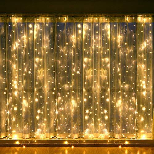 Lichterketten Vorhang für Zimmer, LED Fenster Vorhang Lichterketten, 300 LEDs, 3M × 3M, 8 Modi Eiszapfen Lichterketten mit Fernbedienung Warm White Gartenleuchten für Hochzeit, Weihnachten