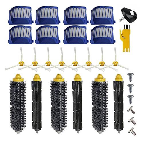 Laimaiou Kit de accesorios para iRobot Roomba 692 671 620 676 606 631 Piezas de repuesto para robot aspirador 29 paquetes de cepillo de rodillo, filtro, cepillo lateral y rueda delantera