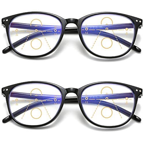 KOOSUFA Gleitsichtbrille Progressive Multifokus Lesebrille Damen Herren Anti-Blaulicht Sehhilfe Retro Lesehilfe Anti Müdigkeit Brille 1,0 1,5 2,0 2,5 3,0 3,5 4,0 (2x Schwarz, 2.0)