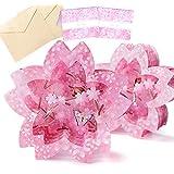 moin moin メッセージ カード お花見 桜 チェリーブロッサム 春 ちょうちょ 蝶/美麗 キラキラ 3D 立体 飛び出す/お祝い 祝 誕生日 バースデー 母の日 ピンク/本体 + メッセージカード + 封筒 × 2つセット
