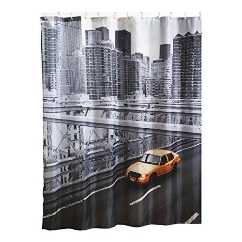 """MSV Anti-Schimmel Duschvorhang - Anti-Bakteriell, waschbar, wasserdicht, mit 12 Duschvorhangringen - Polyester, """"New York"""" 180x200cm"""
