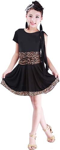 JIE. Les Filles de Jupe Latine d'enfants de Danse pratiquent des vêtements de Nouvelle Robe de Spectacle de Danse Latine des Enfants,noir+Leopard,XXL