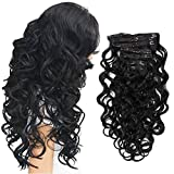 """22"""" Clip in Hair Extensions Full Head Curly Wavy Hairpieces for Women 7pcs 140gram (Natural Black - 1B#)"""