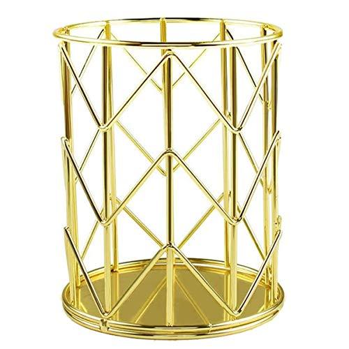 Portalápices, Portalápices redondo de hierro forjado de dorado, Organizador Maquillaje Cepillo, Bote para Lápices adecuada para uso de oficina y hogar