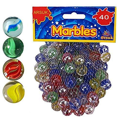 ARSUK Glasmurmeln, Spielzeug, Deko Kugeln Durchsichtig Klare Glasmurmeln, Dekoration Glaskügelchen bunt (Color Marbles_40pcs)